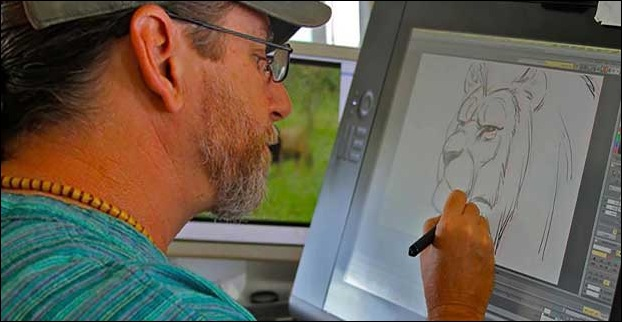 Aaron Blaise , one of the most famous animator's in the world , working on wacom animation  tablet.