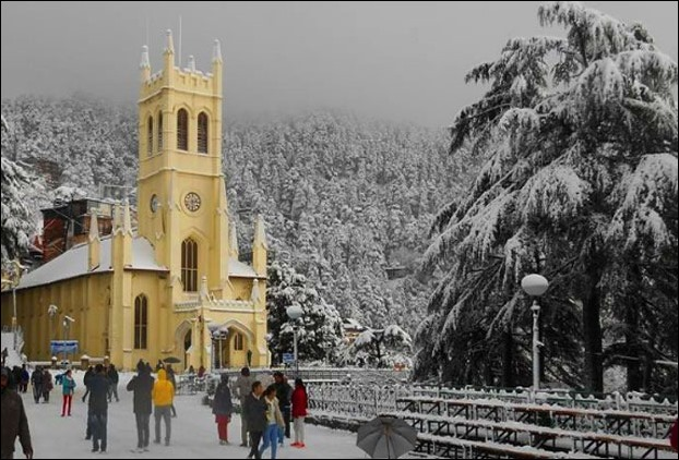Christ Church in Shimla after Snowfall