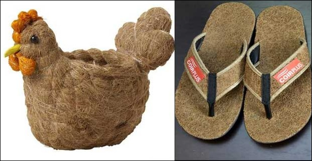 The toy and pair of slippers made from coir
