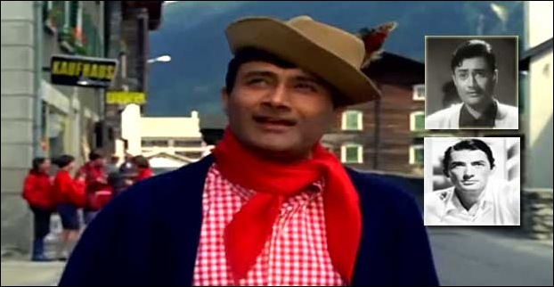 Dev Anand  who created his unique style with mannerism , hat and scarf was often compared to Gregory Peck an american actor of 40'