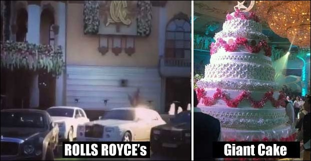 Guests were ferried with Rolls Royces at the marriage