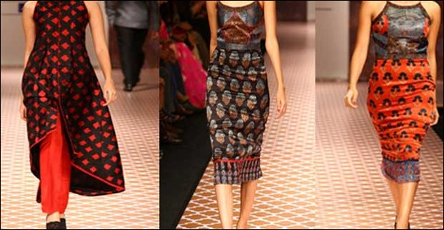 The Ikat and benarsi raw and mushru silk fusion result as colourful melange of silhouettes.