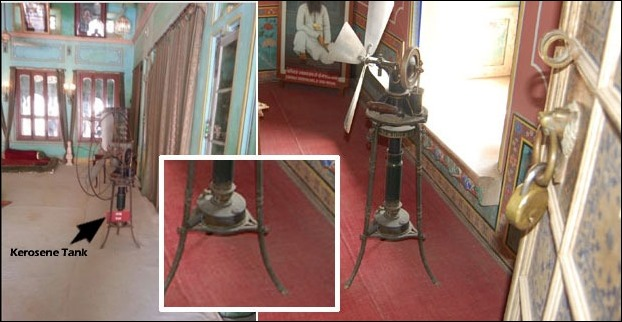 Kerosene operated fan in Udaipur Palace is an important tourist attraction