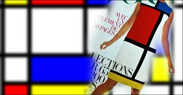 Mondrian style on cover page of the Vogue in the year 1965
