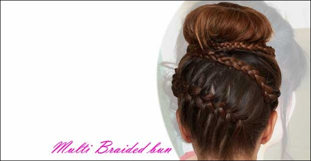 Multi Braided bun Hairstyle