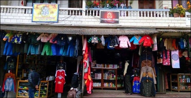 Shops are lined up on both sides of road in Pashupati Market