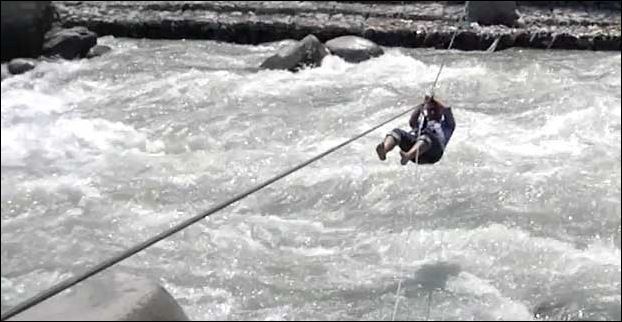 River Crossing Adventure Sports at bank of Beas in Manali