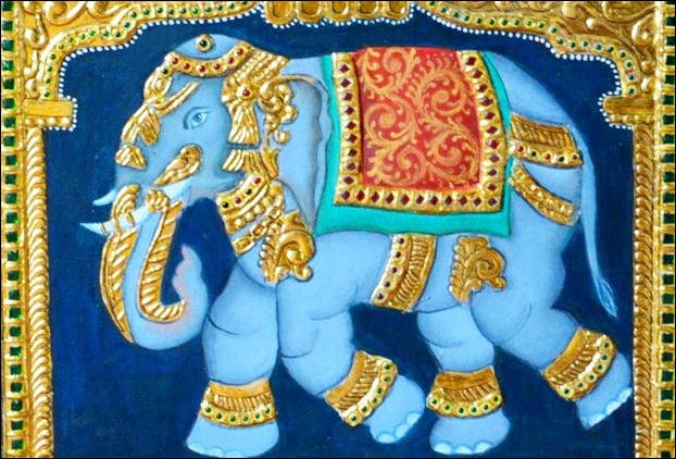 Tanore paintings use expensive stones and jems in decoration along with gold plating work