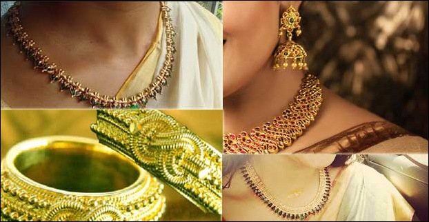 Kerala's traditional gold ornaments like Paaalakka ,Naagapadam ,Poothaali  etc are also typical buy
