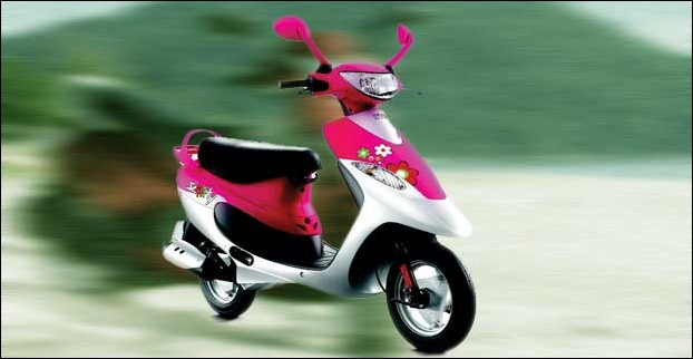 TVS Scooty Pep Plus with Trendy graphics and colours is designed in view of woman riders