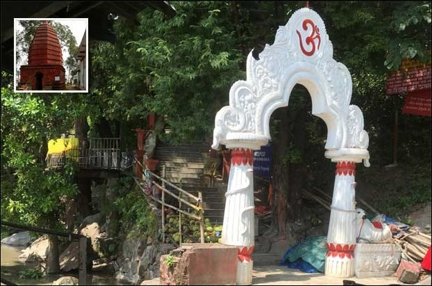 Umananda Temple with entry gate on Peacock river Island of Brahmutra river